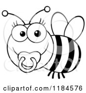 Cartoon Of A Cute Black And White Baby Bee With A Pacifier Royalty Free Vector Clipart