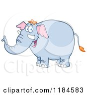 Cartoon Of A Happy Elephant Royalty Free Vector Clipart by Hit Toon