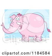 Happy Pink Elephant Over Blue