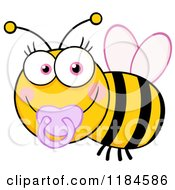 Cartoon Of A Cute Female Baby Bee With A Pacifier Royalty Free Vector Clipart