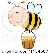 Cartoon Of A Happy Bee With A Honey Bucket Royalty Free Vector Clipart by Hit Toon