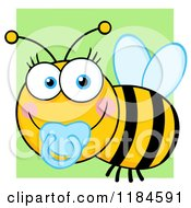 Cartoon Of A Cute Baby Bee With A Pacifier Over Green Royalty Free Vector Clipart