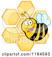 Cartoon Of A Happy Bee Over Honeycombs Royalty Free Vector Clipart by Hit Toon