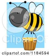 Cartoon Of A Happy Bumble Bee With A Honey Bucket Over Blue Royalty Free Vector Clipart by Hit Toon