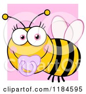 Cartoon Of A Cute Female Baby Bee With A Pacifier Over Pink Royalty Free Vector Clipart