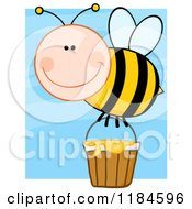 Cartoon Of A Happy Bee With A Honey Bucket Over Blue Royalty Free Vector Clipart by Hit Toon
