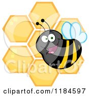 Cartoon Of A Happy Bumble Bee Over Honeycombs Royalty Free Vector Clipart by Hit Toon