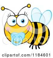 Cartoon Of A Cute Baby Bee With A Pacifier Royalty Free Vector Clipart