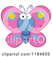 Cartoon Of A Happy Pink And Blue Butterfly Royalty Free Vector Clipart
