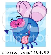 Cartoon Of A Happy Fly Hanging Its Tongue Out Over Blue Royalty Free Vector Clipart by Hit Toon