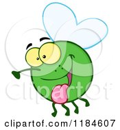 Cartoon Of A Happy Green Fly Hanging Its Tongue Out Royalty Free Vector Clipart by Hit Toon
