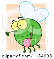 Cartoon Of A Happy Green Fly Hanging Its Tongue Out Over Orange Royalty Free Vector Clipart by Hit Toon