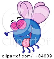 Cartoon Of A Happy Blue Fly Hanging Its Tongue Out Royalty Free Vector Clipart by Hit Toon