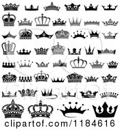 Clipart Of Black And White Crown Designs Royalty Free Vector Illustration