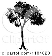 Clipart Of A Silhouetted Tree Royalty Free Vector Illustration