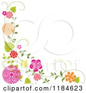 Clipart Of A Floral Corner Border With Orange And Pink Flowers And Vines Royalty Free Vector Illustration
