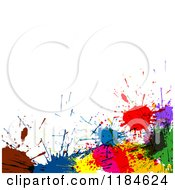Clipart Of A Lower Border Of Colorful Ink Splatters Under White Copyspace Royalty Free Vector Illustration by dero