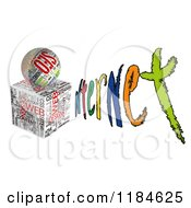 Clipart Of A 3d Seo Cube And Orb Forming An I In The Word INTERNET Royalty Free CGI Illustration