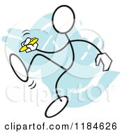 Cartoon Of A Stickler Man Writing A Footnote Over Blue Royalty Free Vector Clipart