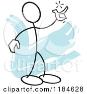 Cartoon Of A Stickler Man Snapping His Fingers Over Blue Royalty Free Vector Clipart