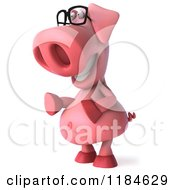 Clipart Of A 3d Pookie Pig Wearing Glasses And Facing Left Royalty Free CGI Illustration