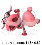 Clipart Of A 3d Pookie Pig Wearing Glasses And Cartwheeling Royalty Free CGI Illustration
