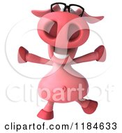 Clipart Of A 3d Pookie Pig Wearing Glasses And Jumping Royalty Free CGI Illustration