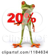 Clipart Of A 3d Frog Holding Twenty Percent Royalty Free CGI Illustration by Julos