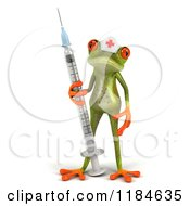 Clipart Of A 3d Nurse Frog Holding A Vaccine Syringe Royalty Free CGI Illustration