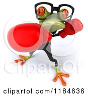 Clipart Of A 3d Punching Formal Frog Wearing Glasses And Boxing Gloves 3 Royalty Free CGI Illustration