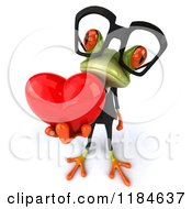 Clipart Of A 3d Formal Springer Frog Wearing Glasses And Holding Out A Heart Royalty Free CGI Illustration