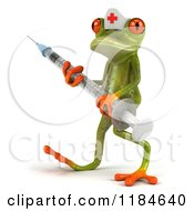 Clipart Of A 3d Nurse Frog Carrying A Vaccine Syringe Royalty Free CGI Illustration