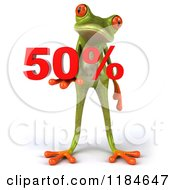 Clipart Of A 3d Frog Holding Fifty Percent Royalty Free CGI Illustration