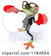 Clipart Of A 3d Punching Formal Frog Wearing Glasses And Boxing Gloves 4 Royalty Free CGI Illustration