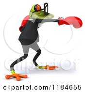 Clipart Of A 3d Punching Formal Frog Wearing Glasses And Boxing Gloves 2 Royalty Free CGI Illustration