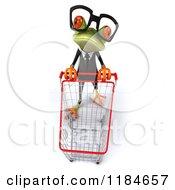 Clipart Of A 3d Formal Springer Frog Looking Up By A Shopping Cart Royalty Free CGI Illustration