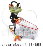 Clipart Of A 3d Formal Springer Frog Pushing A Shopping Cart Royalty Free CGI Illustration