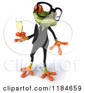 Clipart Of A 3d Formal Springer Frog With Glasses And Champagne 4 Royalty Free CGI Illustration