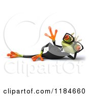 Clipart Of A 3d Formal Springer Frog Wearing Glasses And A Crown Reclined And Waving Royalty Free CGI Illustration