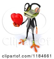 Clipart Of A 3d Formal Springer Frog Wearing Glasses And Holding Out A Heart 2 Royalty Free CGI Illustration
