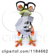 Clipart Of A 3d Formal Frog Wearing Glasses And Holding A Euro Symbol Royalty Free CGI Illustration