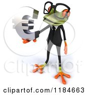Clipart Of A 3d Formal Frog Wearing Glasses And Holding A Euro Symbol 2 Royalty Free CGI Illustration