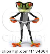 Clipart Of A 3d Formal Springer Frog Wearing Glasses And Reading Royalty Free CGI Illustration
