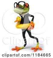 Clipart Of A 3d Formal Springer Frog Walking With A Duck Inner Tube Royalty Free CGI Illustration