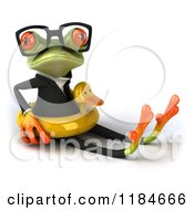 Clipart Of A 3d Formal Springer Frog Sitting With A Duck Inner Tube Royalty Free CGI Illustration