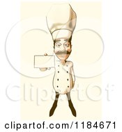 Clipart Of A Halftone Male Chef Holding Out A Card With Vintage Sepia Tones Royalty Free Illustration