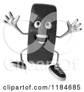 Clipart Of A 3d Tire Mascot Jumping Royalty Free CGI Illustration by Julos