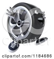 Clipart Of A 3d Tire Mascot Jumping 2 Royalty Free CGI Illustration by Julos