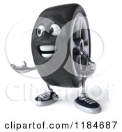 Clipart Of A 3d Tire Mascot Presenting Royalty Free CGI Illustration by Julos