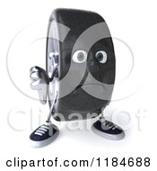 Clipart Of A 3d Unhappy Tire Mascot Holding A Thumb Down Royalty Free CGI Illustration by Julos